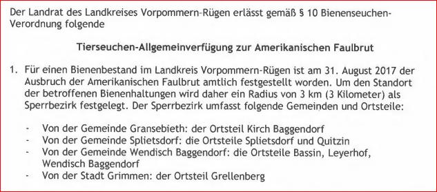 Vorpommern-Rügen: AFB-Sperrbezirk Basin (ohne Karte)